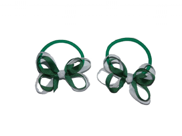 Pony Elastic Bows - Green/White